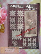 Vintage 30s Crochet Pattern For Panel Curtain Luncheon Set Placemats FREE UK P&P