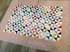 Patchwork Quilt Top, Pinwheel, Triangles, Floral Calicos, Multi Color, Hand Made