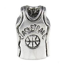 Lot 5pcs Basketball Jersey Cloth Silver European Charm Beads For Bracelet LEB652