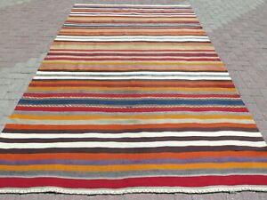 """Turkish Mile Kilim Rug, Striped Design Rug, Area Rugs, Carpet, Wool Rug 76""""X128"""