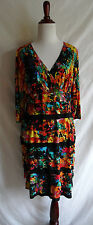 London Times 10 Artsy Abstract Colorful Print Cha Cha Tiered Ruffled Dress