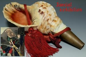Japan Antique Edo battle trumpet horagai yoroi kabuto Armor katana samurai Busho