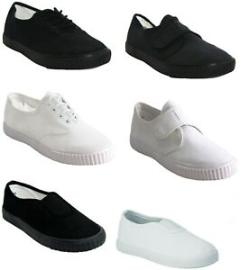 KIDS GIRLS BOYS PLIMSOLLS PUMPS TRAINERS UNISEX YOUTH BACK TO SCHOOL CANVAS SHOE