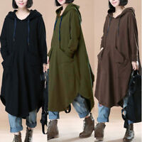 UK Women Long Sleeve Hooded Plain Kaftan Oversize Baggy Loose Tops Shirt Dress