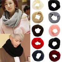 Men Women Wool Knit Winter Warm Cowl Neck Infinity Circle Scarf Shawl Xmas Gift