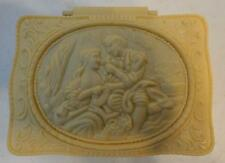 VINTAGE IVORY MOLDED PLASTIC TRINKET JEWELRY BOX WITH MIRROR HINGED LID
