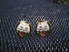 A wonderful pair of gold tone metal earrings with cats kittens image approx 1cm