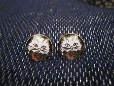Una splendida coppia di Orecchini Tono Oro in Metallo con gatti gattini immagine circa 1 cm