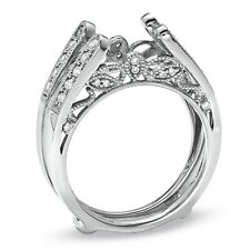 14k Gold Over Antique Vintage Cathedral Ring Diamonds Guard Solitaire Enhancer