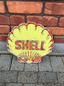 Original  cast aluminium shell garage wall sign petrol globe garage enamel sign