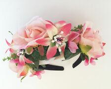 Pink Rose Flower  Wedding Festival Headband Hairband Floral Garland Headpiece