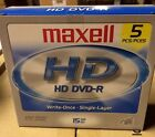 PACK OF 5 MAXELL HD DVD-R 15GB NEW FACTORY SEALED