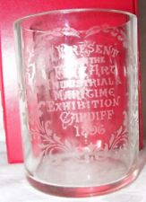 ANTIQUE ETCHED 1897 GLASS JAR FINE ART INDUSTRIAL MARITIME EXHIBITION CARDIFF