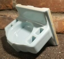 Vintage Light Blue Ceramic Wall Mount Toothbrush Cup Holder Retro Bathroom