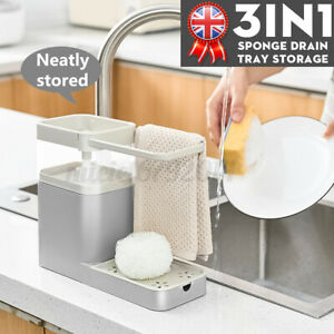3in1 Kitchen Soap Pump Dispenser Towel Tack and Sponge Drain Tray Storage Holder