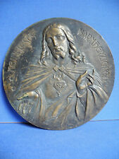 Herz Jesus Relief Platte aus Bronze um 1900 Christus Grabkreuz Platte ?