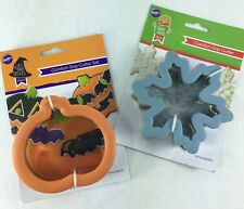 Wilton Comfort Grip Cookie Cutter Set of 2 Halloween Pumpkin w/ Bat & Snowflake