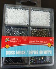Glass Beads Variety small Black White set by Crafters Square. New in package
