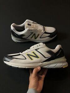New Balance 990v5 Made in USA Running Shoes Silver Black Yellow M990SB5 Size 16