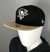 Pittsburgh Penguins Hat - New Era 9Fifty Black Flat Brim Snapback