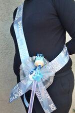 Baby Shower MOM TO BE SASH,Blue/boy,Ribbon favors,Giraffe,Mommy,Corsage,safari