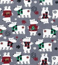 """BTY*CHRISTMAS POLAR BEARS WITH SCARVES ON GREY COTTON FLANNEL FABRIC 1 YD 42X36"""""""