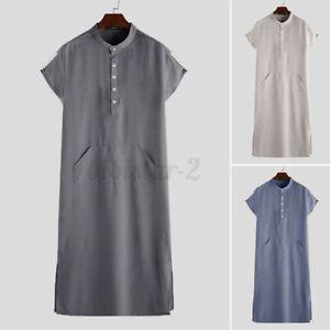 US STOCK Mens Short Sleeve Islamic Saudi Jubba Kaftan Abaya Arab Long Tunic Robe