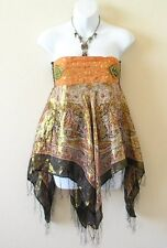 Boho Hippie Gypsy Embroidered Lurex Sexy Shimmering Blouse Top / Skirt - S & M