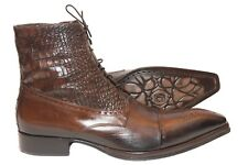 Jo Ghost 1345 Italian mens brown ankle lace up boots with zipper , animal prints