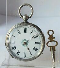 Nice solid silver ladies pocket watch c1900 ticks