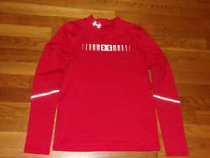 UNDER ARMOUR COLDGEAR LONG SLEEVE RED MOCK FITTED JERSEY BOYS LARGE EXCELLENT