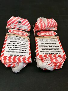 100 pack of Danger Do Not Start or Operate Personal Lockout Safety STA108 tags