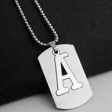 Mens Personalized Stainless Steel Necklace Initial Large 26 A-Z Letters Pendant