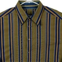 Robert Graham Men Shirt XL Long Sleeve Striped Flip Cuff Embroider Brown Blue