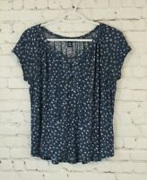 Chaps Womens Size Medium Blue Floral Lace Up Neckline Cap Sleeve Knit Shirt