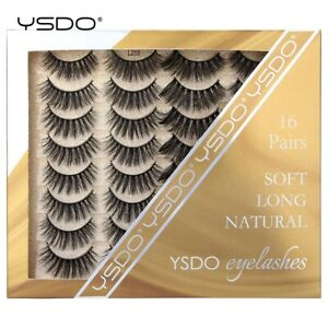 YSDO 16 Pairs Lashes Mink lashes Natural 3D Mink Eyelashes False Handmade Lashes