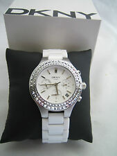 DKNY CHAMBERS LADIES WATCH NY2223 SILVER WHITE CERAMIC CRYSTALS BNIB