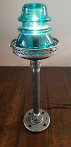 Glass Insulator and Industrial Pipe Table Lamp - Handcrafted!!