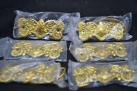 "6 Vintage Gold Metal 4 1/4"" x 1 3/4"" Ornate Embossed Dresser/Drawer Pulls-Taiwan"