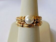 Tiffany & Co 1992 Signature Solitaire Pearl Engagement Wedding Band 18k Rings