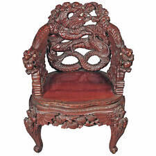 A Chinese Export Carved Rosewood Arm Chair with Dragon Handles