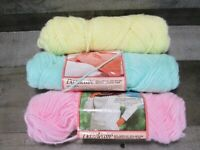 Vintage Caron Dazzleaire Yarn Mint Green Soft Yellow Pink Lot Baby Pastel Lot