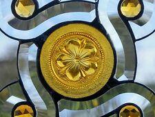 Bleiverglasung Facetten- Fensterbild mit orig. Jugendstil- Relief in Tiffany