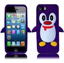For Apple iPhone 5 5S SE Rubber SILICONE Soft Gel Skin Case Cover Penguin Purple