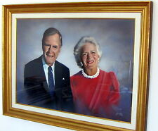President George H.First Lady Barbara Bush Original Pastel Painting Art Framed