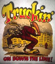 Original Vintage 1967 Truckin' On Down The Line Iron On Transfer R.Crumb Dayglo