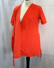 Peignoir vintage 70's velours orange t. 38 à 42