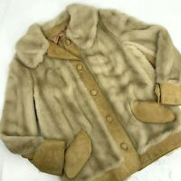 Vintage Lilli Ann Faux Fur Jacket Suede Coat Size M/L Blonde Button Front VLV
