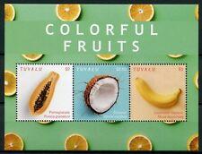 Tuvalu 2018 MNH Colorful Fruits Banana Coconut Pomegranate 3v M/S Nature Stamps