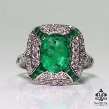 Antique Art Deco Platinum 2.86ct. Emerald & Diamond Ring